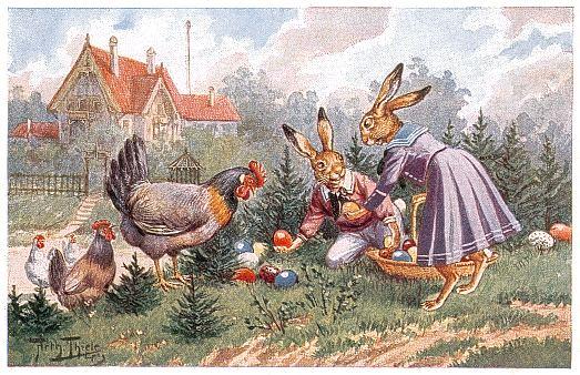 Osterhasen beim Eierverstecken / von Arthur Thiele